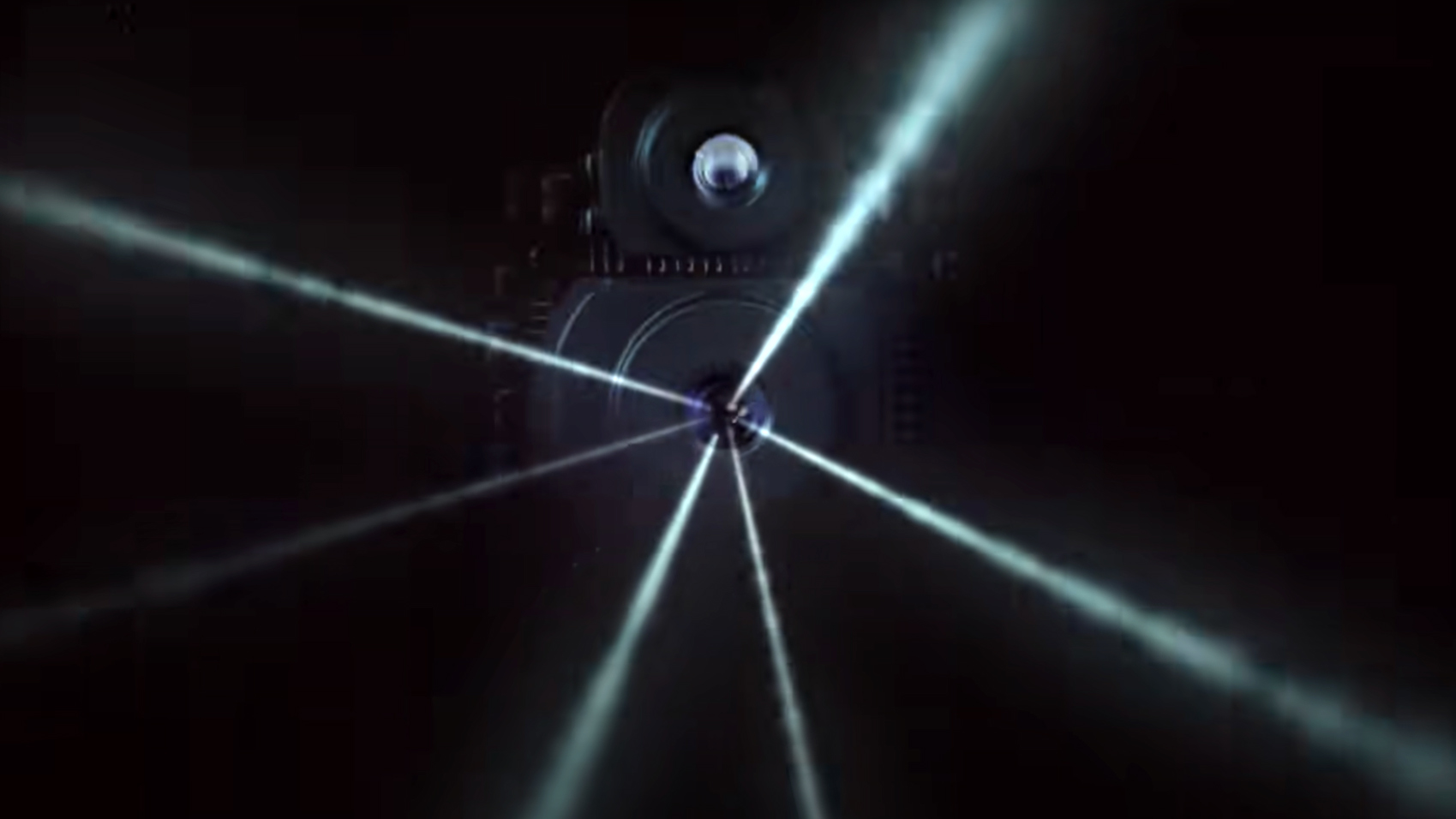 Laser beams firing out from a LiDAR scanner