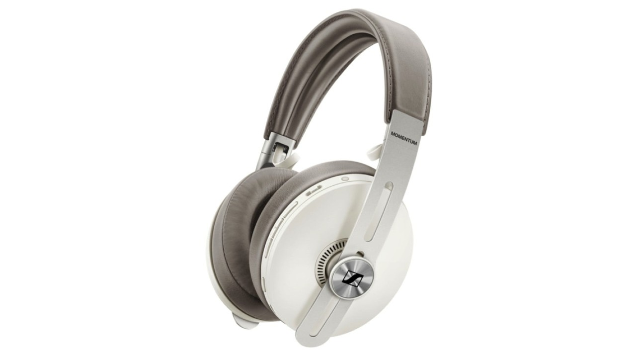 the Sennheiser Momentum 3 Wireless noise cancelling headphones in white and gray