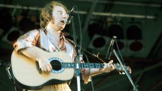 A photograph of Van Morrison at Knebworth, 1974