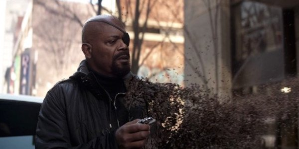Nick Fury Sam Jackson Infinity War dusting
