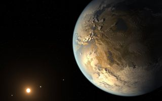 This artist's depiction shows the first validated Earth-size planet to orbit a distant star in the habitable zone identified by NASA's Kepler Space Telescope.