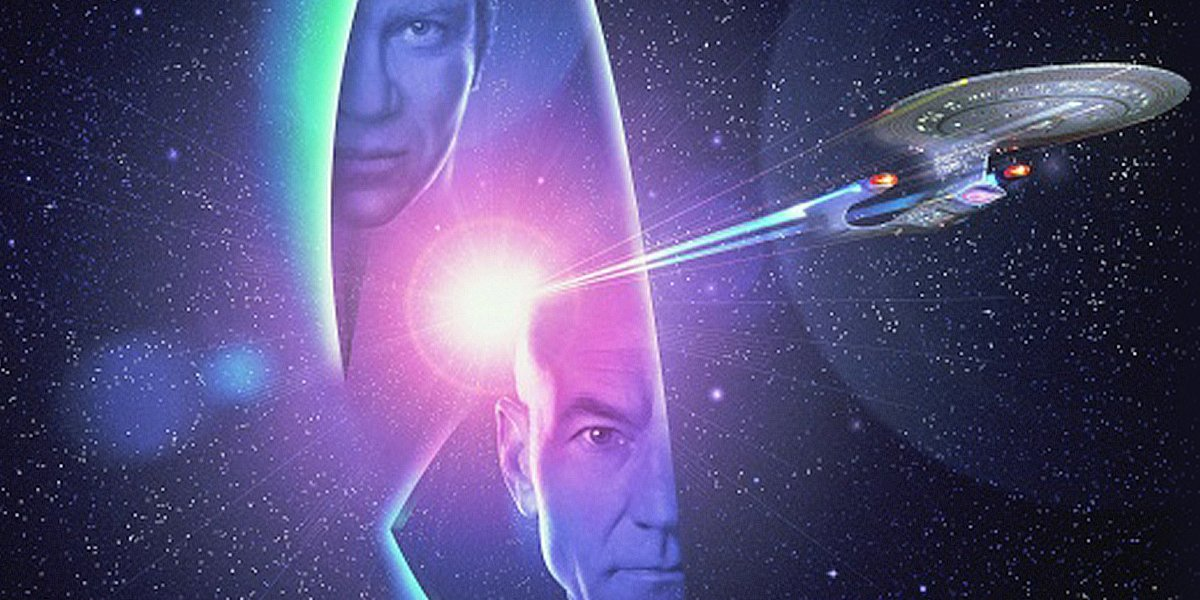 Star Trek Generations Kirk and Picard displayed in some beautiful key art