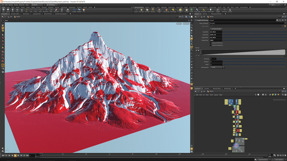 Mountain terrain in Houdini with HeightField Noise interface open