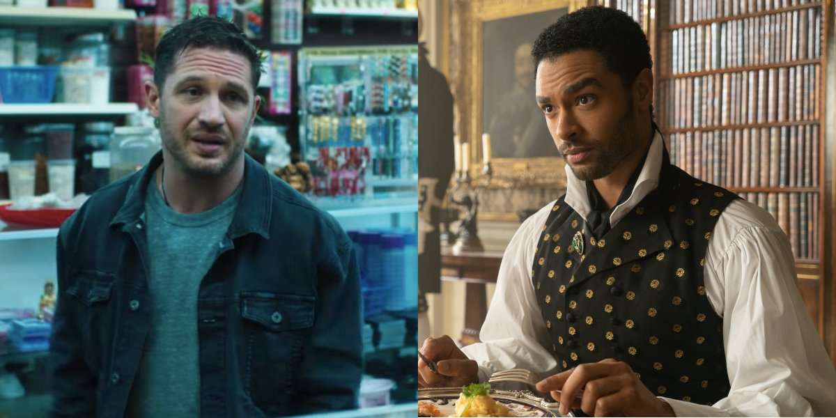 Tom Hardy in Venom and Regé-Jean Page in Bridgerton, pictured side by side