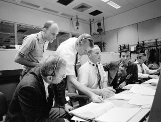 View of Mission Control Center during the Apollo 13 oxygen cell failure.