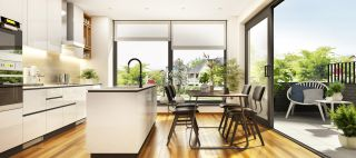 large windows and patio doors off kitchen diner
