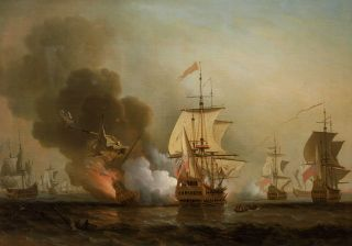 Oil painting showing the explosion of San José during Wager's Action.
