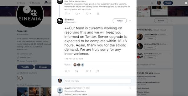 Sinemia Error Message on Twitter