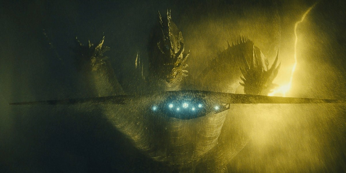 Ghidorah stares down the Argo during a huge storm in Godzilla: King of the Monsters.