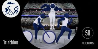 The pictogram performers at the Open Ceremony