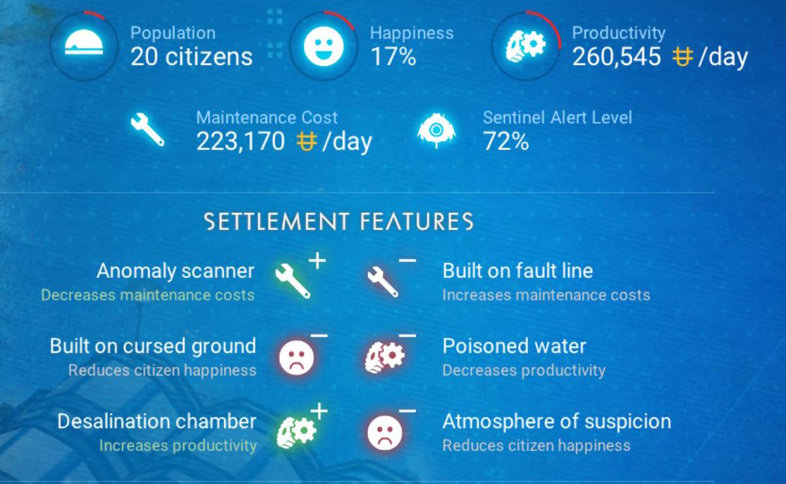 No Man's Sky settlement negative stats