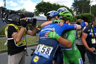 CHATEAUROUX FRANCE JULY 01 Michael Morkov of Denmark Mark Cavendish of The United Kingdom and Team Deceuninck QuickStep Green Points Jersey celebrates at arrival during the 108th Tour de France 2021 Stage 6 a 1606km stage from Tours to Chteauroux LeTour TDF2021 on July 01 2021 in Chateauroux France Photo by David Stockman PoolGetty Images