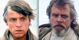 Luke Skywalker then and now