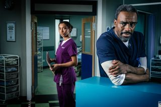 Charles Venn and Adele James as Jacob and Tina in Casualty.