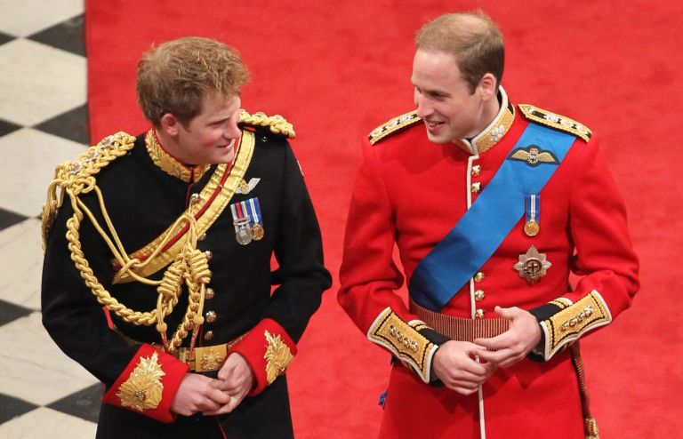 Prince Harry and Prince William arrive at Westminster Abbey prior to his wedding with Kate Middleton in central London on April 29, 2011