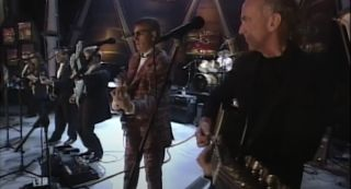The Eagles perform at the Rock & Roll Hall of Fame in 1998
