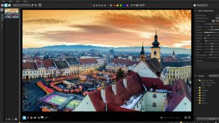 Photoshop alternatives: interface screenshot featuring European cityscape