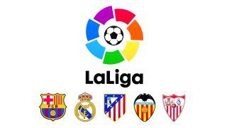 Logotipo de LaLiga con los escudos del Barcelona, el Real Madrid y otros equipos importantes