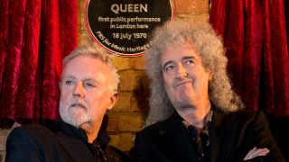 Roger Taylor and Brian May at the site of Queen's first London show at Imperial College