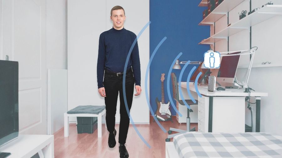 Elliptic Labs' 'Inner Reflection' tech uses proximity sensors to detect where the viewer is.