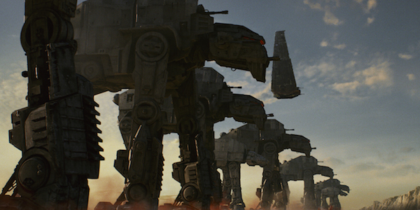 AT-ATs descending upon Crait in The Last Jedi