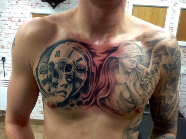 Multi-layered skull tattoo