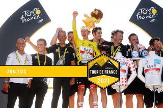 UAE Team Emirates celebrate Tadej Pogacar's win in the 2021 Tour de France