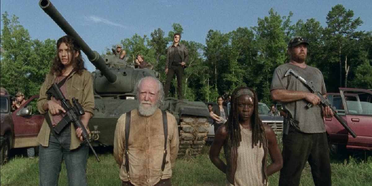Hershel, Michonne and some of the other characters in The Walking Dead.