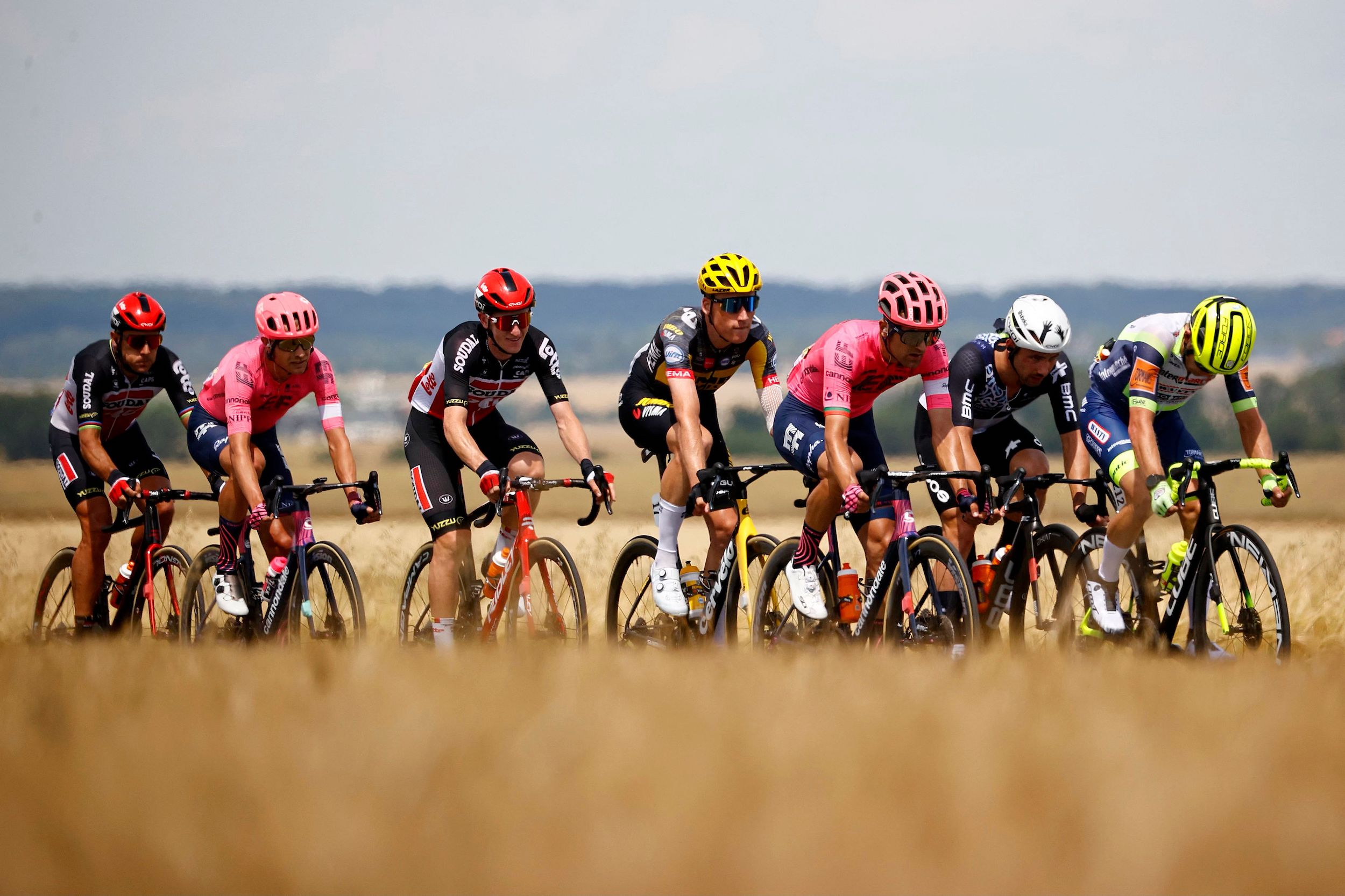 The breakaway power through the flat lands before heading to the first major climbs of the 2021 Tour de France
