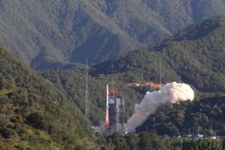 Launch of a Long March 2C carrying the Yaogan 30 (10) satellites from Xichang.