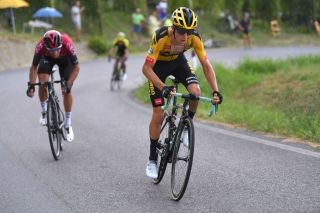 BAROLO ITALY AUGUST 12 George Bennett of New Zealand and Team Jumbo-Visma Gianni Moscon of Italy and Team INEOS during the 104th Giro del Piemonte 2020 a 187km race from Santo Stefano Belbo to Barolo 294m GranPiemonte GranPiemonte on August 12 2020 Barolo Italy Photo by Tim de WaeleGetty Images