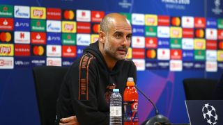 Pep Guardiola, manager of Manchester City speaks to the media on Friday ahead of Saturday's game against Lyon in the last Champions League quarterfinal.
