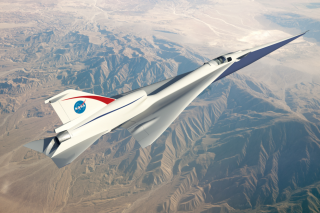 A NASA rendering shows an early vision of what the quiet supersonic X-plane might look like.