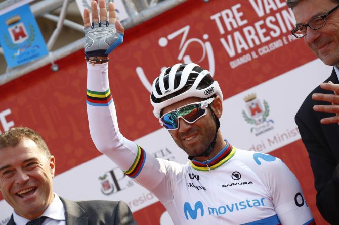 Alejandro Valverde waves to the crowd on the podium