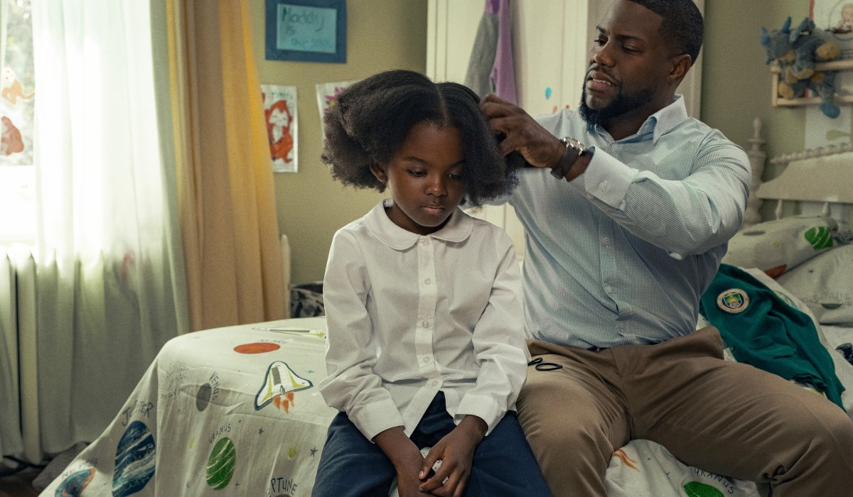 Kevin Hart tries to do Melody Hurd's hair in Fatherhood.