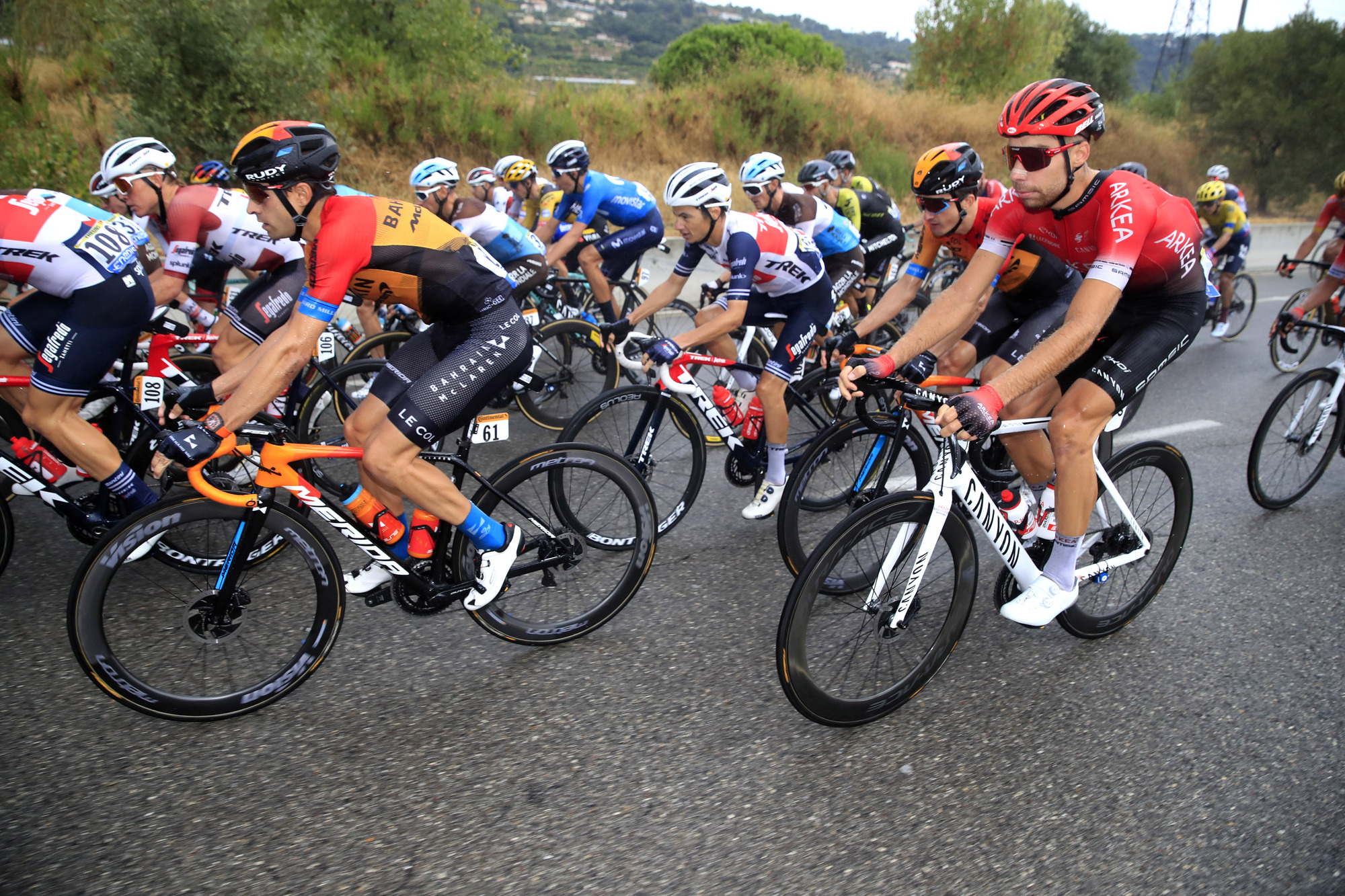 Tour de France 2020 107th Edition 1st stage Nice Nice 156 km 29082020 Mikel Landa ESP Bahrain McLaren Clement Russo FRA Team Arkea Samsic photo Luca BettiniBettiniPhoto2020