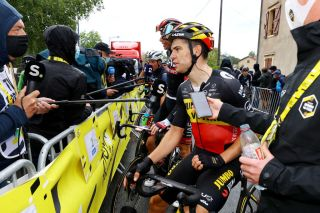 Wout van Aert gives his version of events to Sporza after stage 16 of the Tour de France