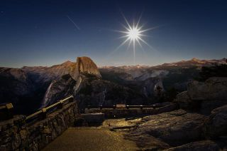 ISS and Full Moon over Yosemite
