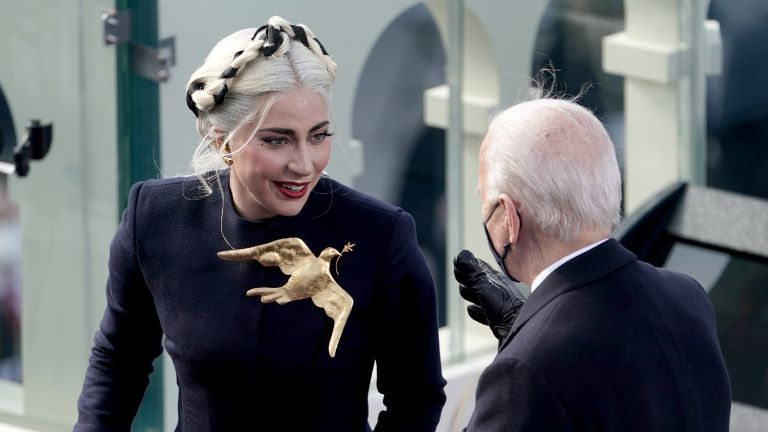 Lady Gaga speaks to President-elect Joe Biden during the 59th Presidential Inauguration