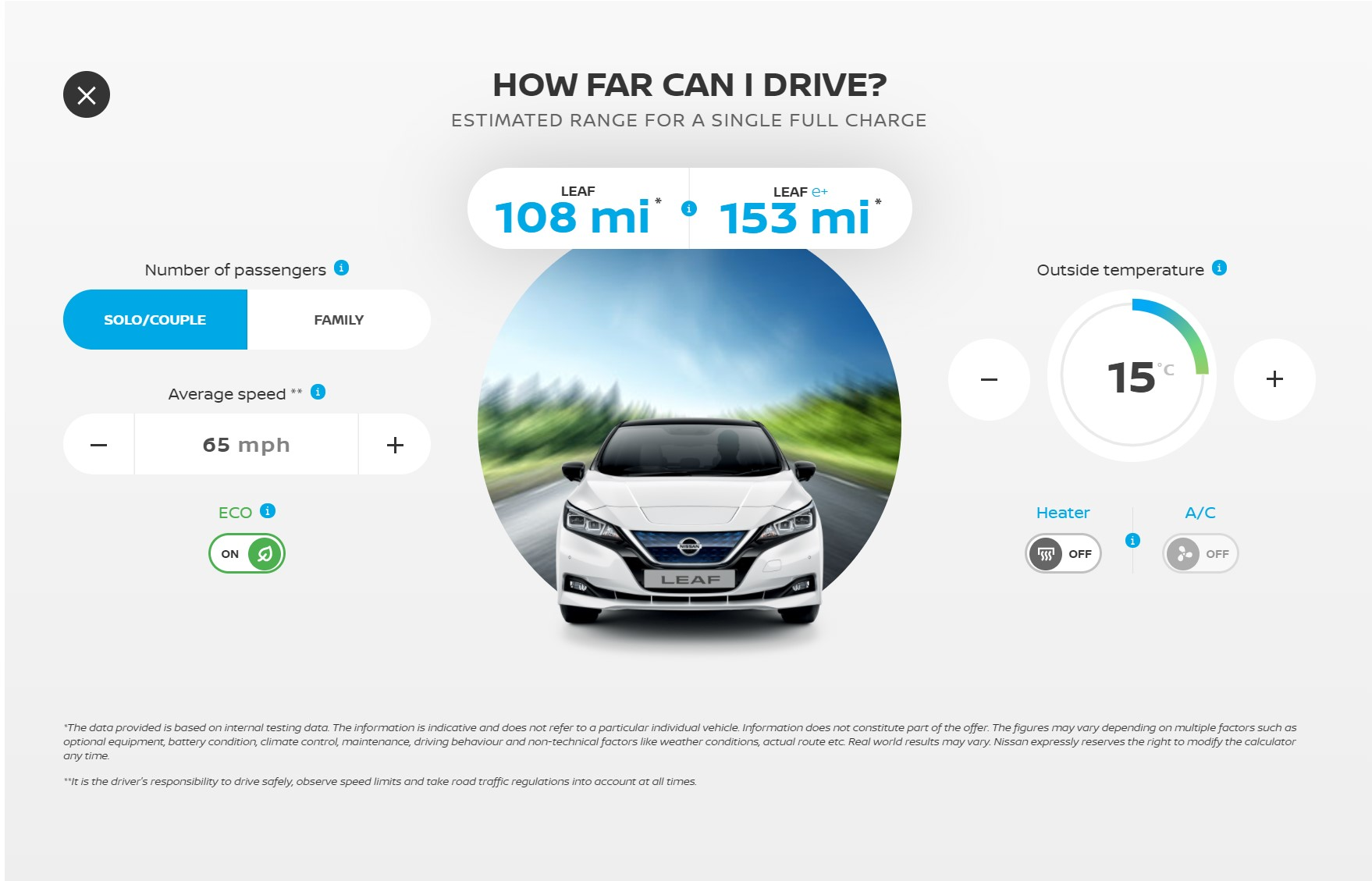 Nissan leaf range calculator