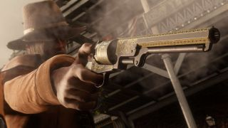 Cowboy holding revolver in Red Dead Online