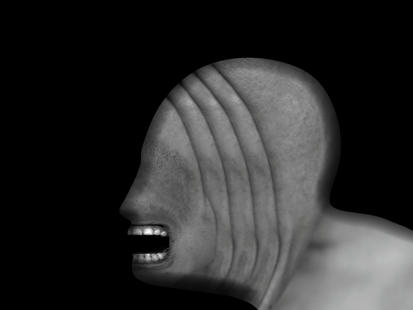 Creepy abstract image of a human profile with teeth exposed but no other facial features, against a black background.