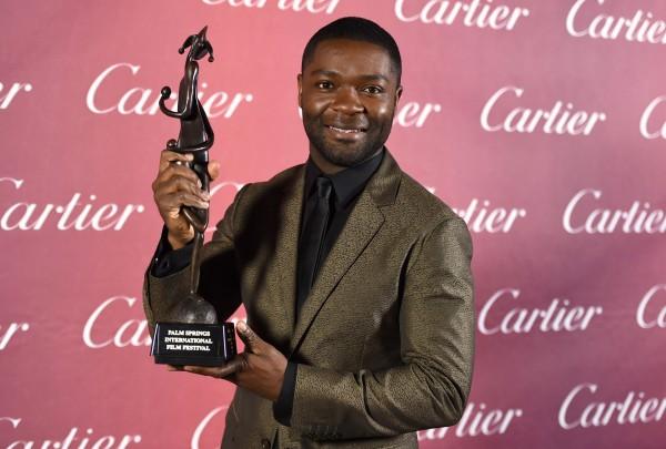 David Oyelowo with his award at the Palm Springs International Film Festival