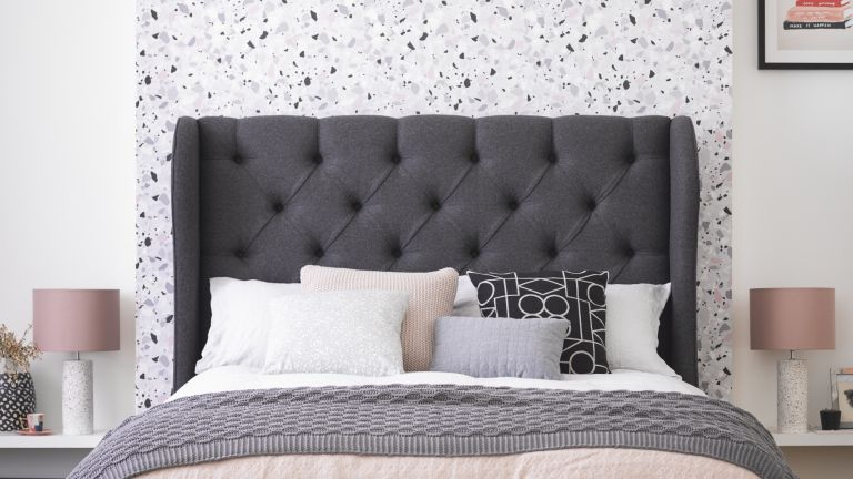 Button & Sprung Camelia king size bed frame in Slate soft wool, £1,075