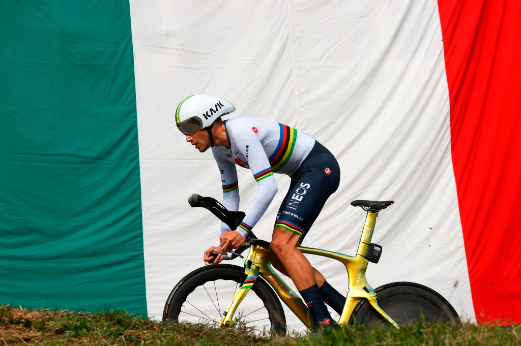 Team Ineos rider Italys Filippo Ganna rides during the fourteenth stage of the Giro dItalia 2020 cycling race a 341kilometer individual time trial between Conegliano and Valdobbiadene on October 17 2020 Photo by Luca BETTINI AFP Photo by LUCA BETTINIAFP via Getty Images