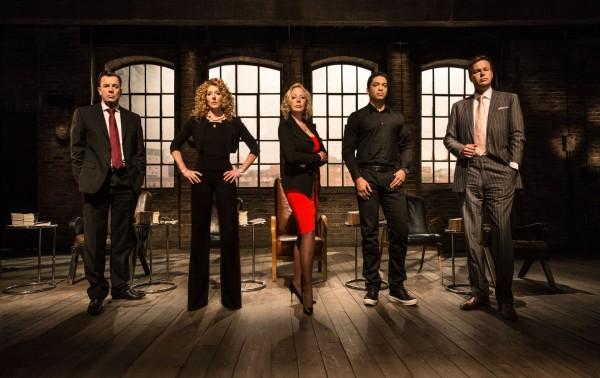 Duncan Bannatyne, Kelly Hoppen, Deborah Meaden, Piers Linney and Peter Jones in the Den on series 12 (BBC)