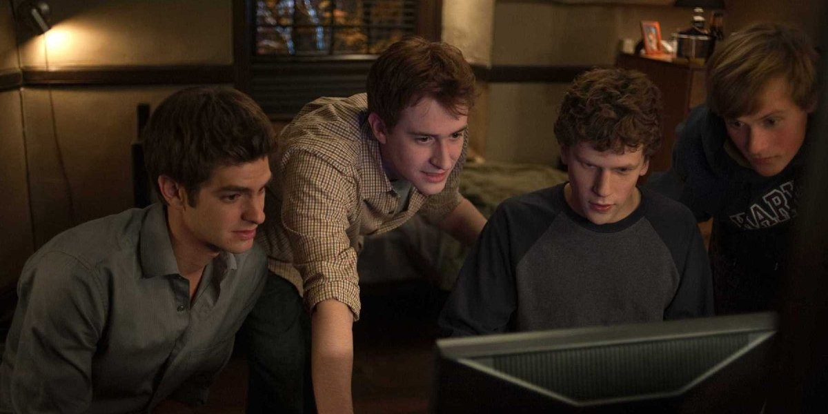 Andrew Garfield, Joseph Mazzello, Jesse Eisenberg, and Patrick Mapel in The Social Network