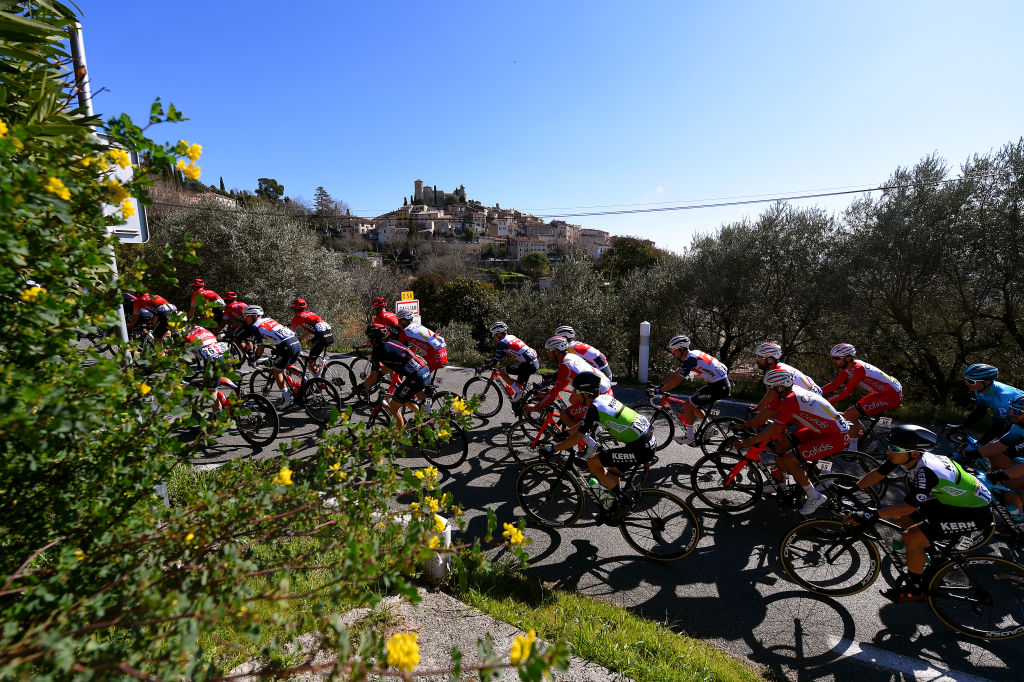 FAYENCE FRANCE FEBRUARY 20 The peloton during the 53rd Tour Des Alpes Maritimes Et Du Var Stage 2 a 1689km stage from Fayence to Fayence 357m Village Landscape letour0683 on February 20 2021 in Fayence France Photo by Luc ClaessenGetty Images