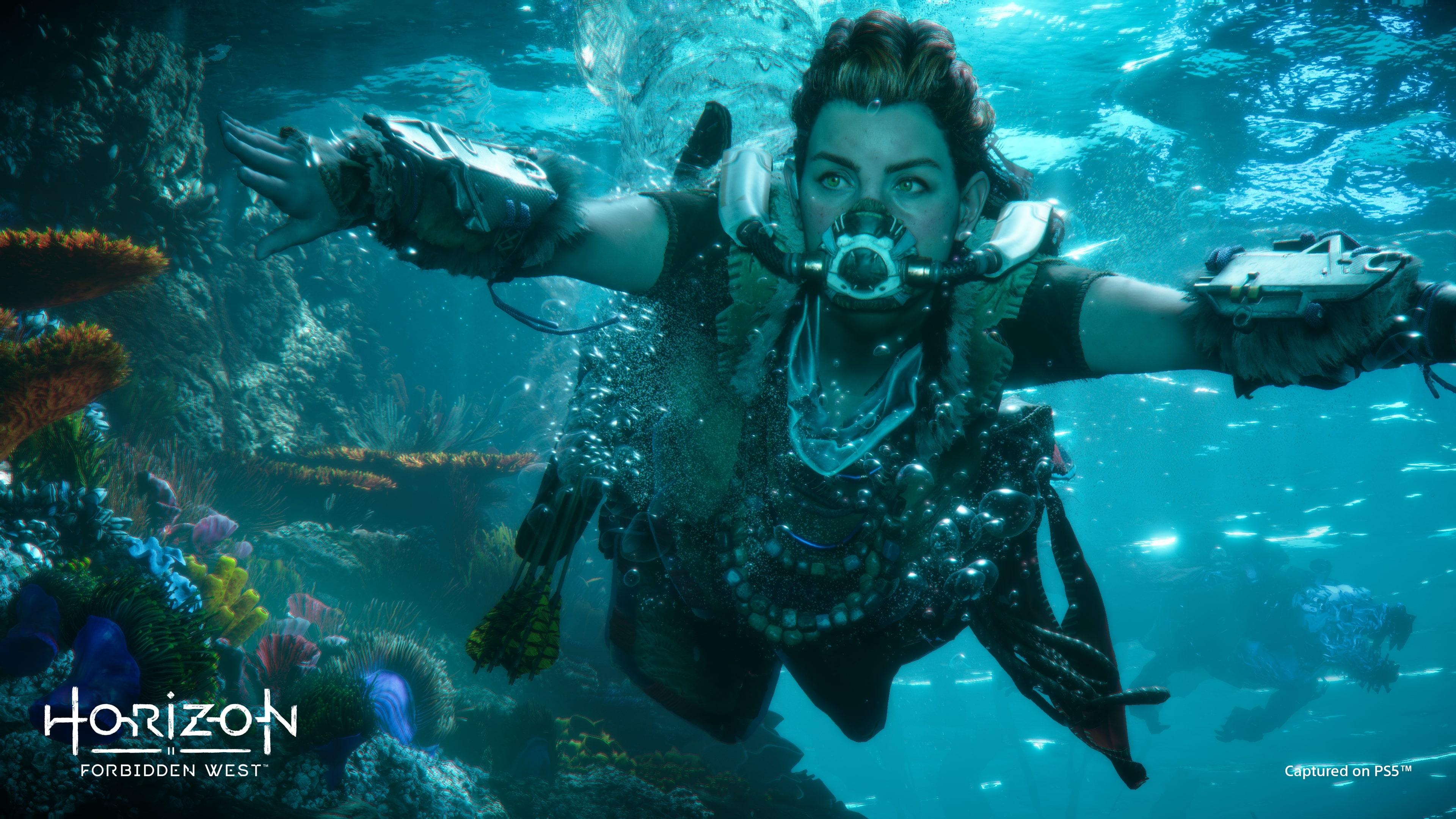 Aloy from Horizon Forbidden West swims underwater