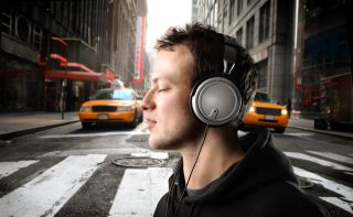headphones, music, listening, street, pedestrian, crossing